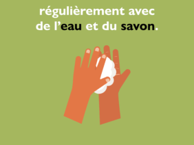 7 IOM posters on Covid in French, for West and Central Africa