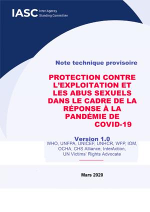 Protection contre l'exploitation et les abus sexuels dans le cadre de la réponse à la pandémie de COVID-19