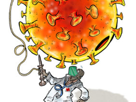 GLEZ, a cartoonist from Burkina Faso, draws his interpretation of the African continent handling the COVID-19 pandemic.