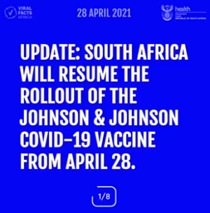 Update on Johnson & Johnson COVID-19 vaccine in South-Africa